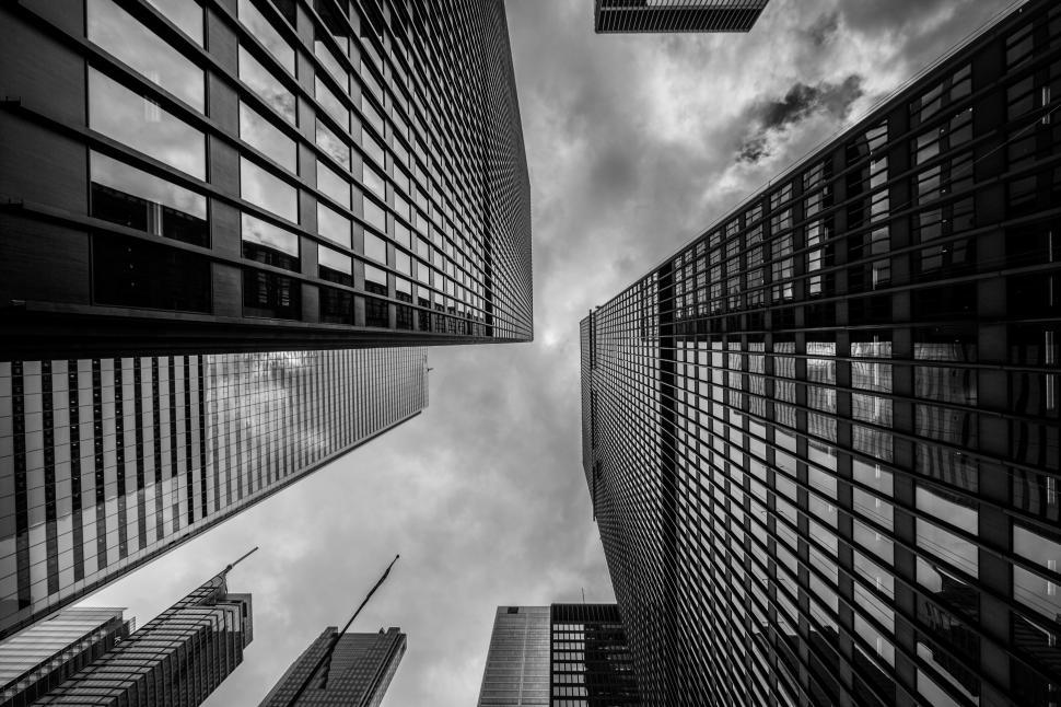 Download Free Stock HD Photo of Black and White Skyscrapers Online