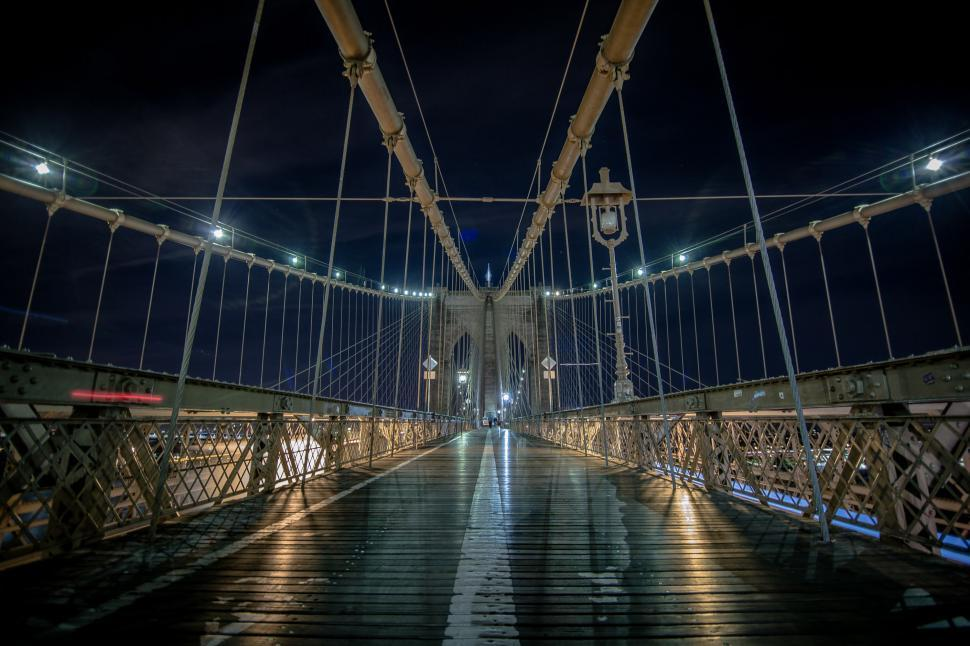 Download Free Stock HD Photo of Brooklyn Bridge At Night Online