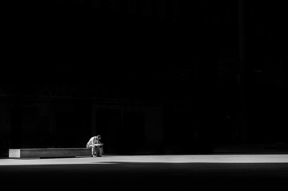 Download Free Stock HD Photo of Man Alone In Darkness Online