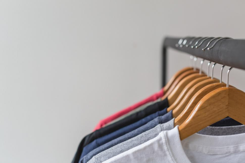 Download Free Stock HD Photo of Rack Of Tshirts Online