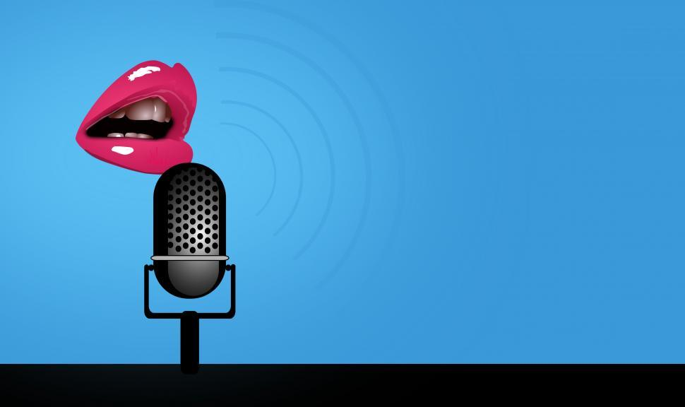 Download Free Stock HD Photo of Speaking - Mouth and Microphone - With Copyspace Online