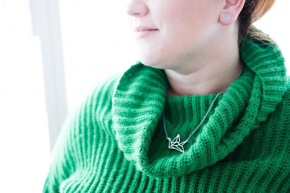 Download Free Stock HD Photo of Women s Green Turtleneck Online
