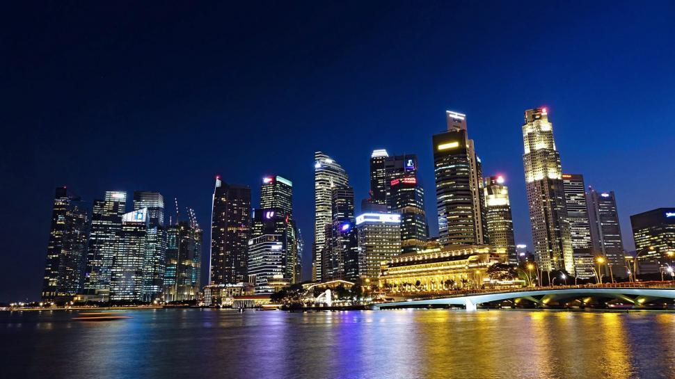 Download Free Stock HD Photo of Singapore Slyline at Night Online