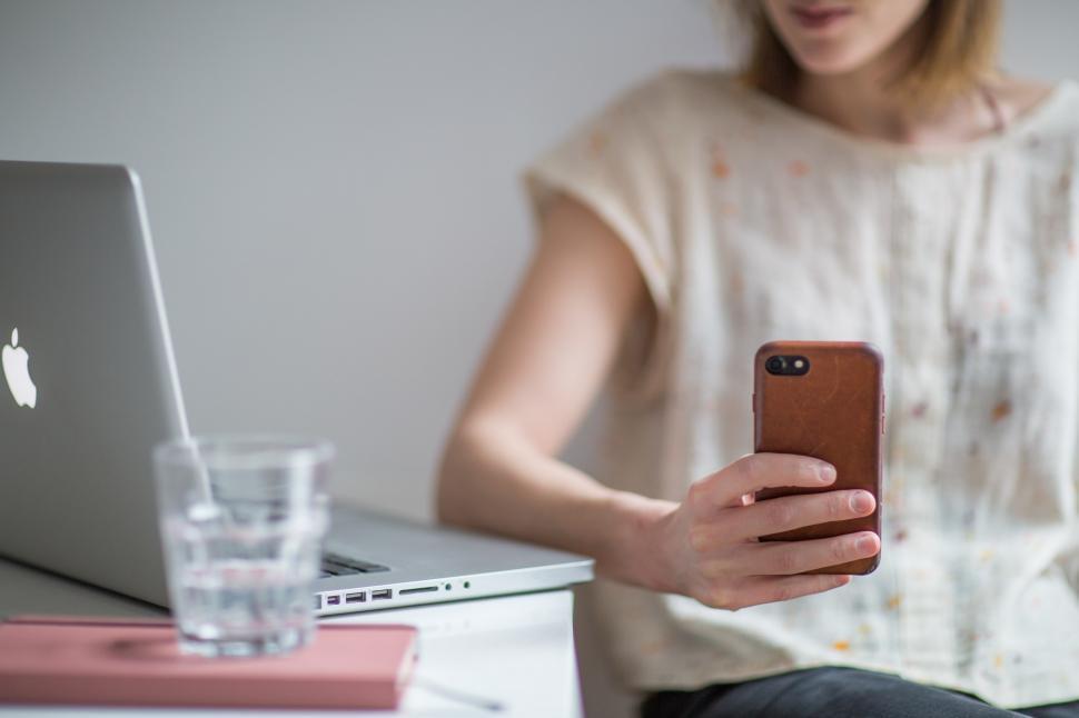 Download Free Stock HD Photo of Woman Taking Work Break Online