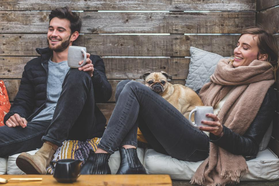 Download Free Stock HD Photo of Smiling Man Woman Pug Online