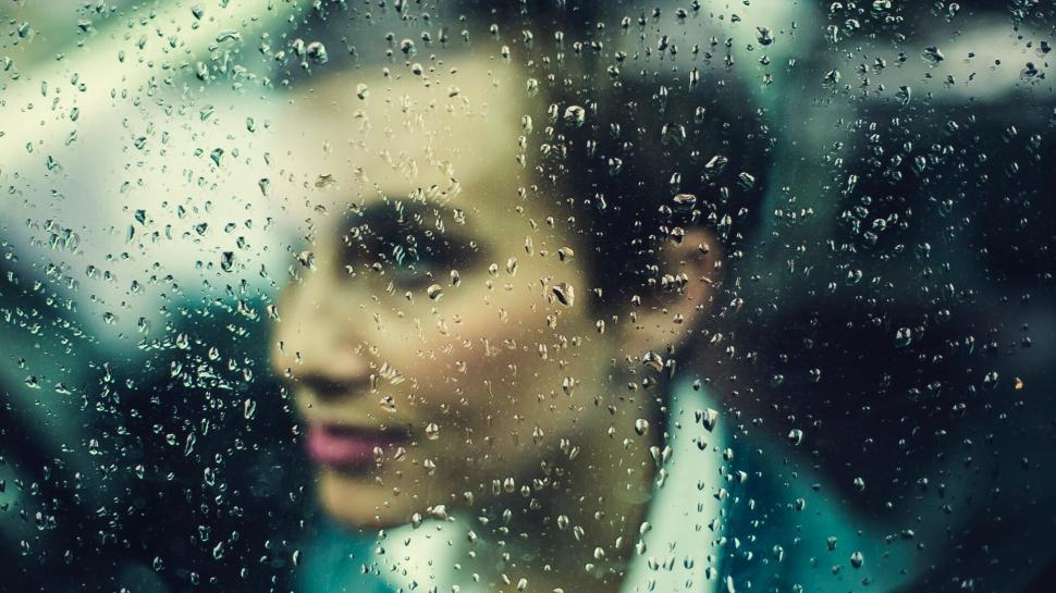 Download Free Stock HD Photo of Woman Behind Rainy Window Online