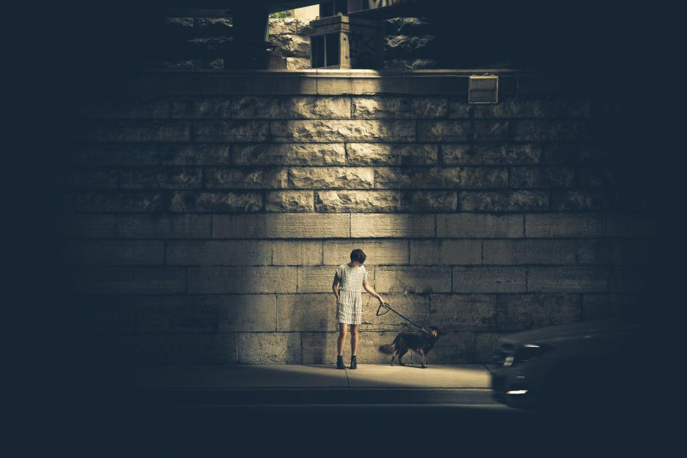 Download Free Stock HD Photo of Woman With Dog Dark Alley Online
