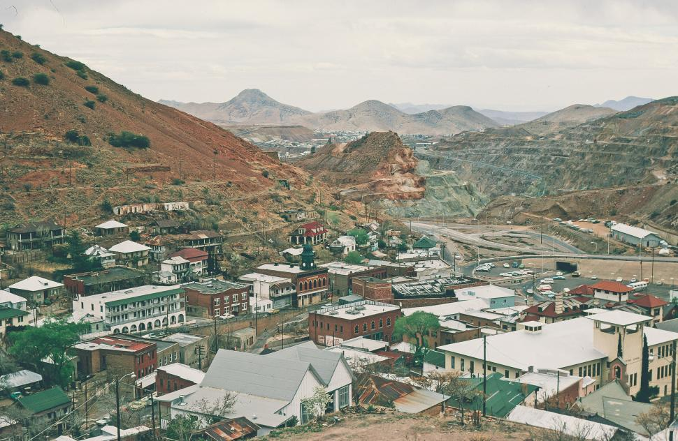 Free image of Aerial View of Bisbee, Arizona with Queen mine in background