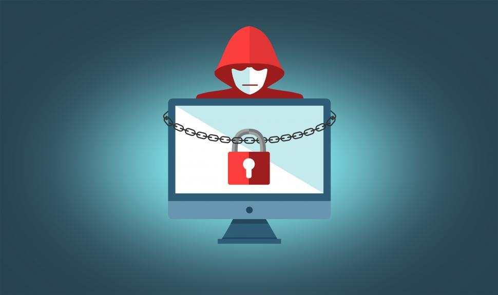 Download Free Stock HD Photo of Ransomware Concept with Hooded Hacker - On-Line Security Online