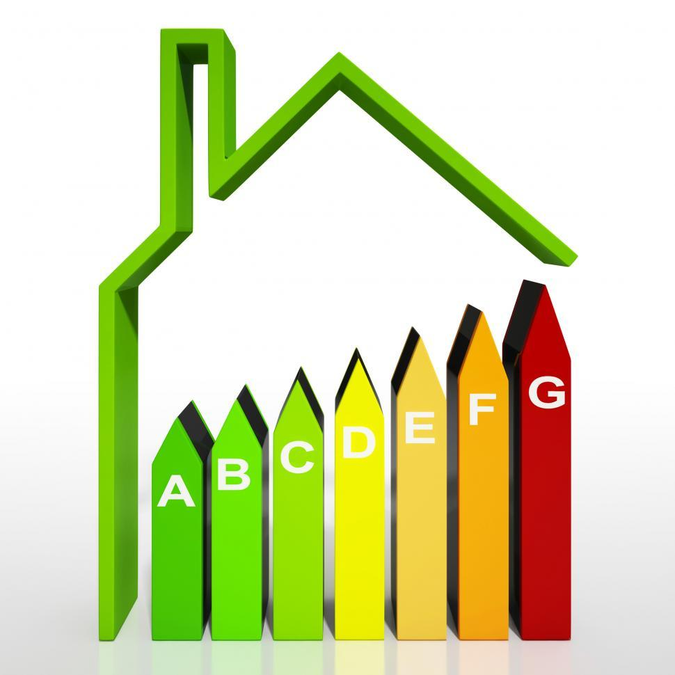 Download Free Stock HD Photo of Energy Efficiency Rating Diagram Shows Green House Online