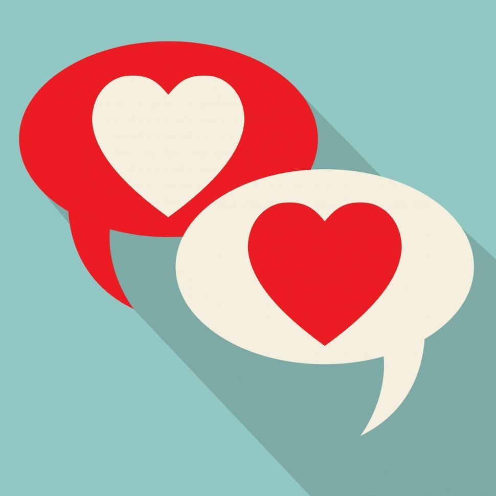 Download Free Stock HD Photo of Hearts Speech Bubbles Represents Valentines Day And Chatting Online