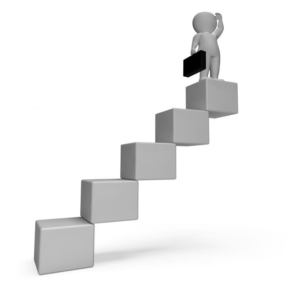 Download Free Stock HD Photo of Stairs Character Indicates Business Person And Achieve 3d Render Online