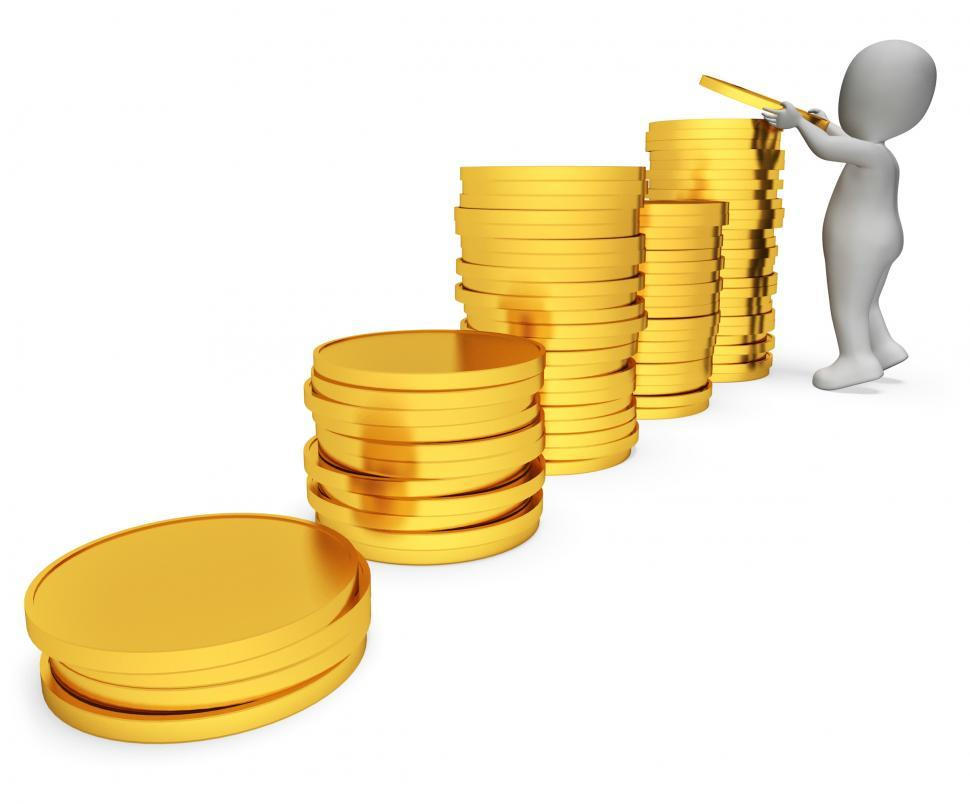Download Free Stock HD Photo of Savings Character Represents Earnings Profit And Render 3d Rende Online