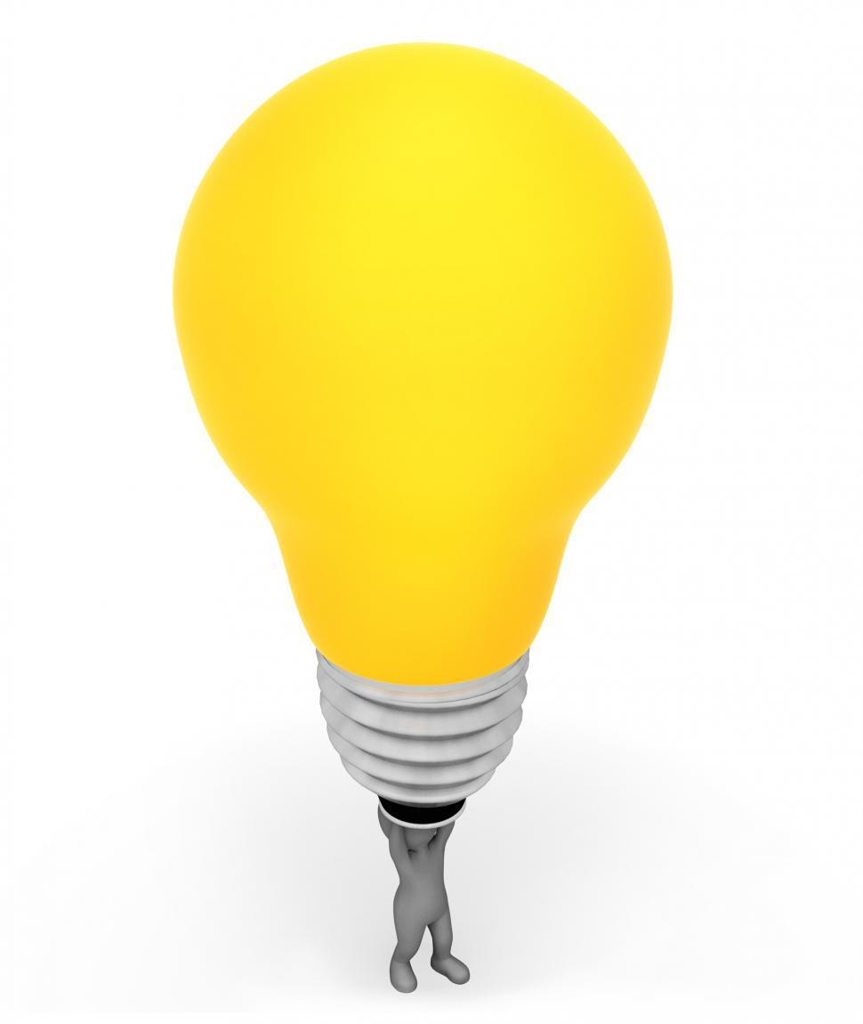 Download Free Stock HD Photo of Lightbulb Character Represents Powered Invention And Glowing 3d  Online