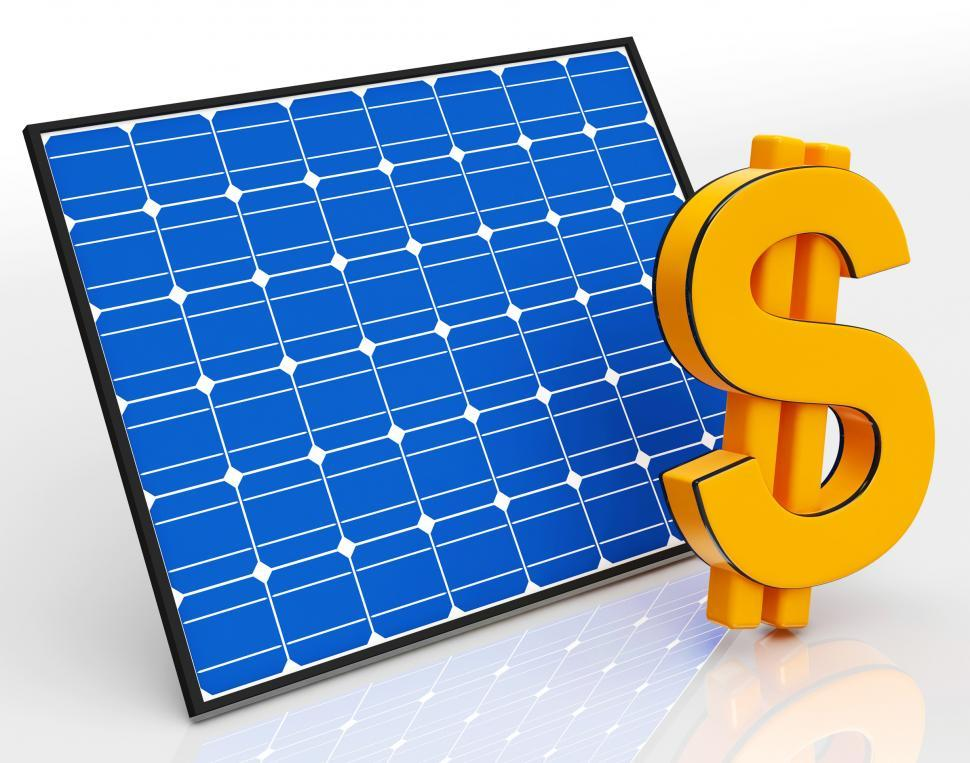 Download Free Stock HD Photo of Solar Panel And Dollar Sign Shows Saving Money Online