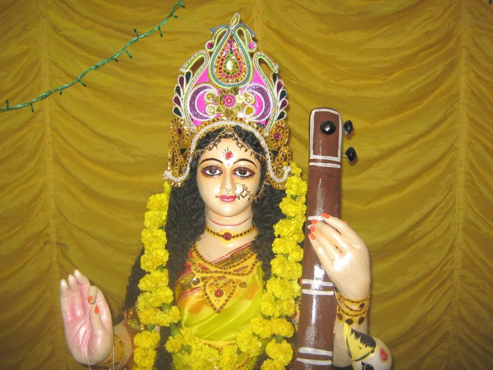 Download Free Stock HD Photo of IDOL OF GODDESS SARASWATI Online