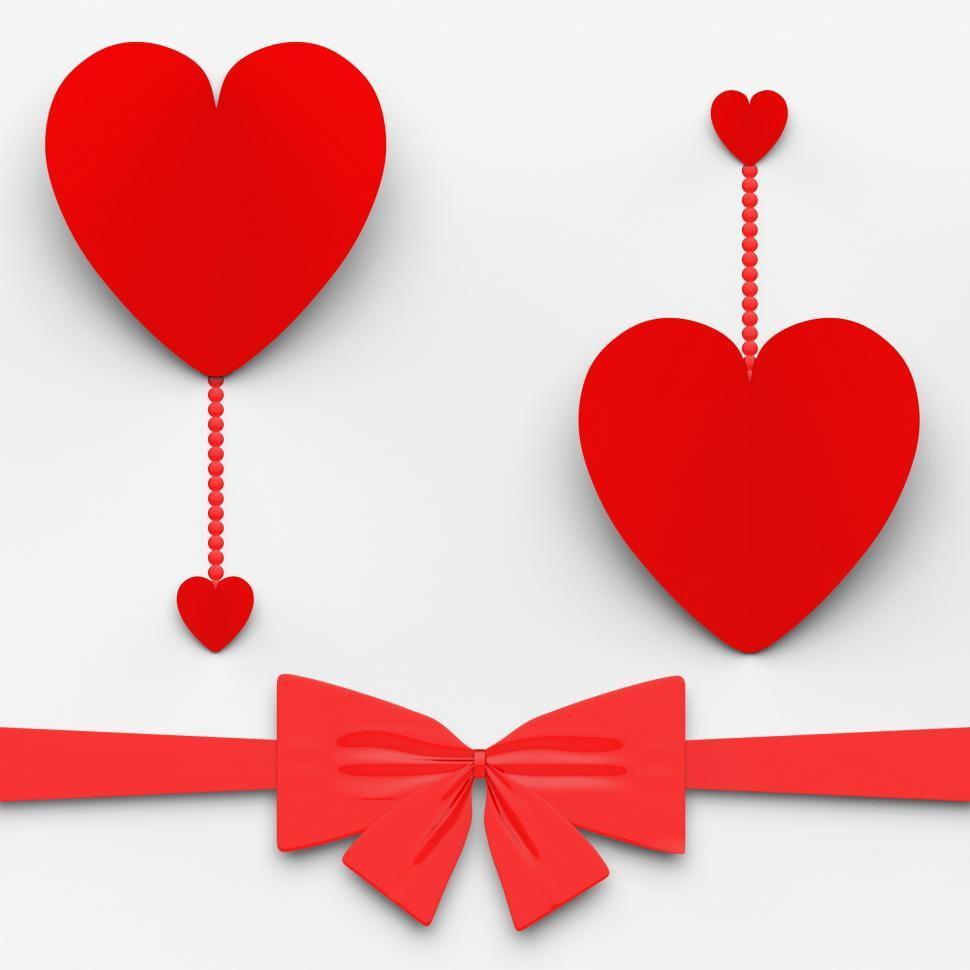Download Free Stock HD Photo of Two Hearts With Bow Mean Loving Celebration Or Decoration Online