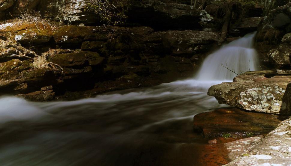 Download Free Stock HD Photo of Dark waterfall at Van Campens Glen Online