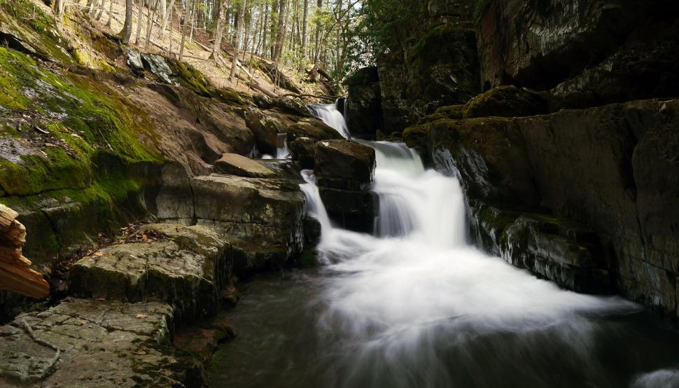 Download Free Stock HD Photo of Narrow Van Campens Glen Waterfall in shadow Online