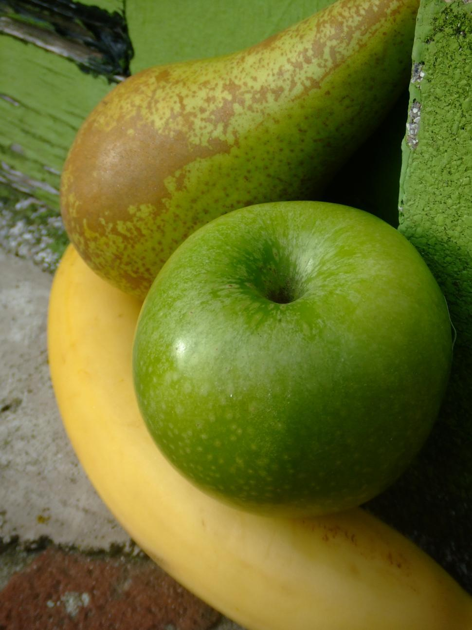 Download Free Stock HD Photo of meet my friends: apple,banana and pear Online