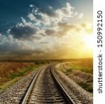 railroad goes to horizon in...