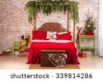 red bed in christmas interior...