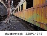 abandoned train carriage in a...