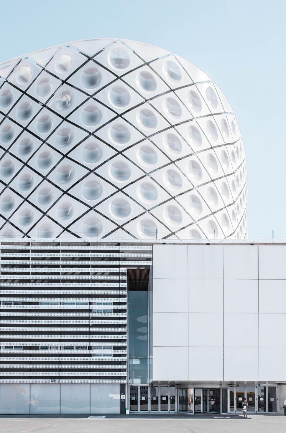 Download Free Stock Photo of building architecture modern business city structure sky solar dish protective covering