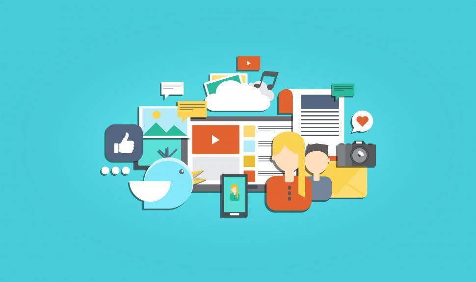 Download Free Stock Photo of Social Media and Social Marketing - Illustration