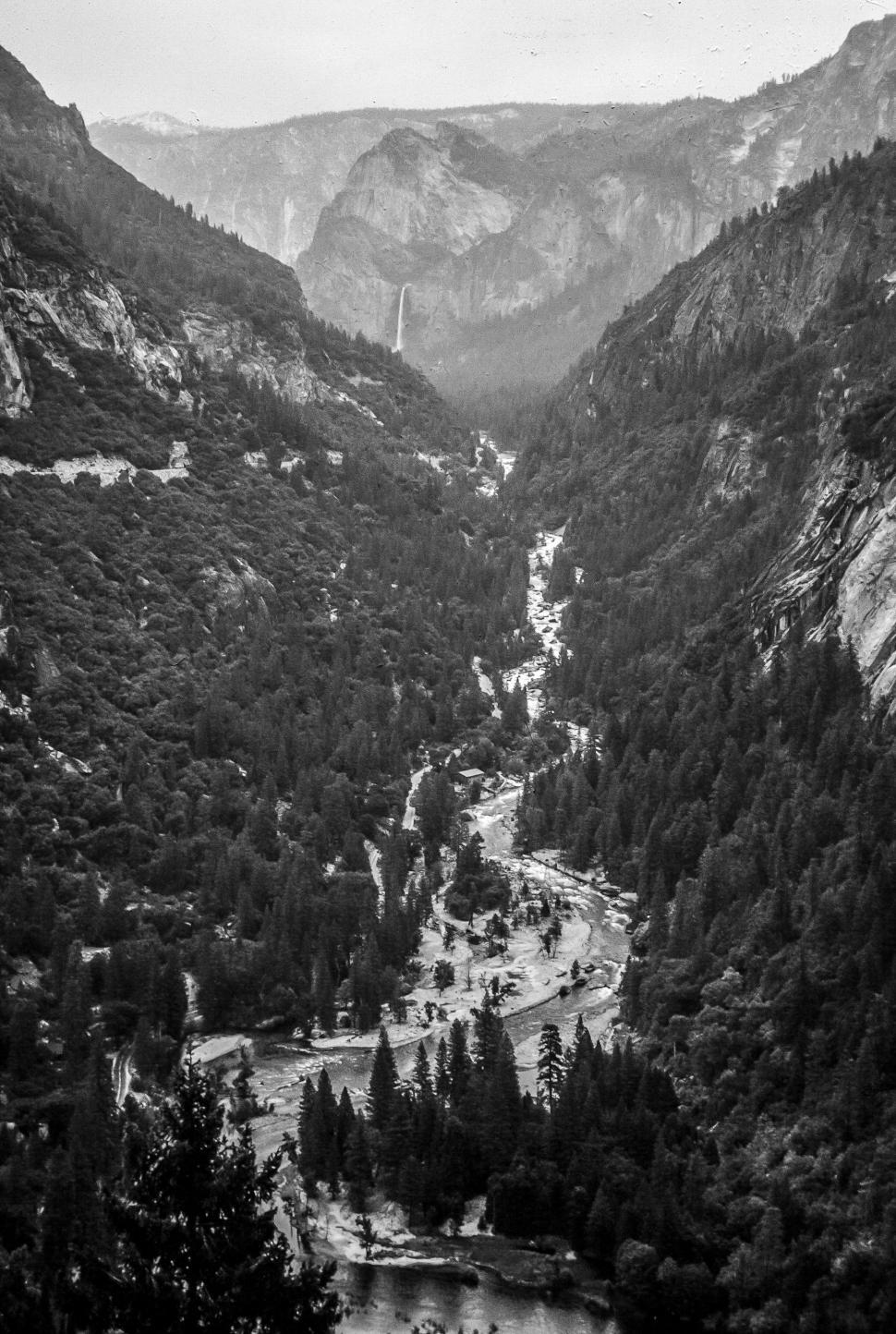 Download Free Stock Photo of Aerial View of Yosemite Falls - Black and white