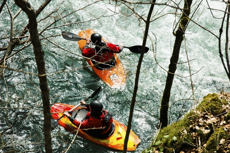 Download Free Stock Photo of Kayakers on the river