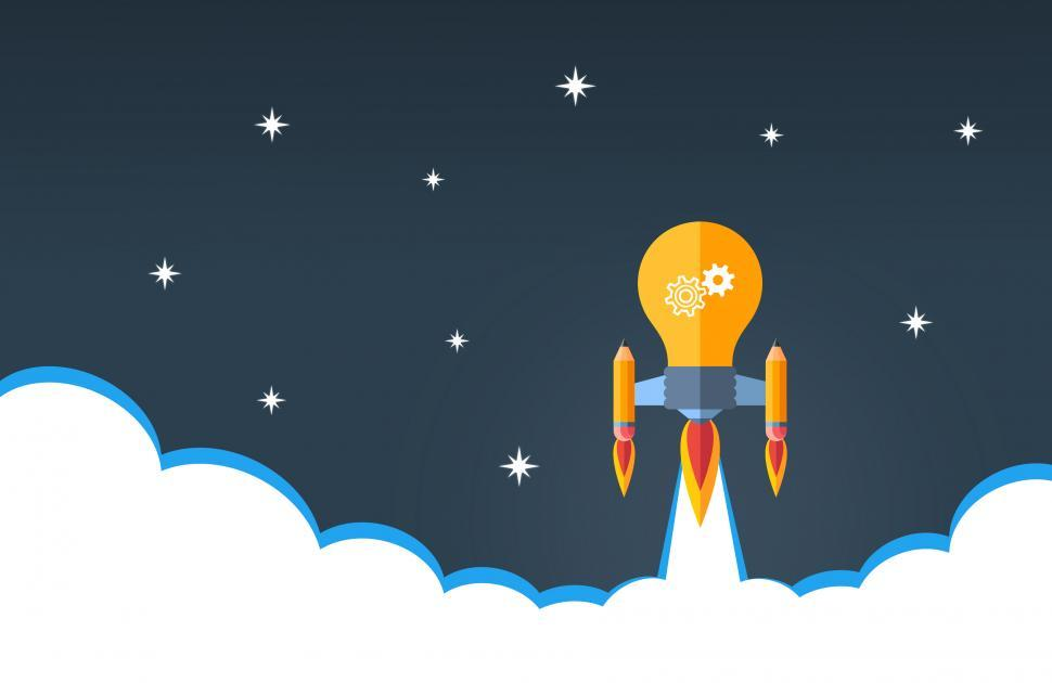 Download Free Stock HD Photo of Creativity and Good Ideas Concept - Rocket Lightbulb Online