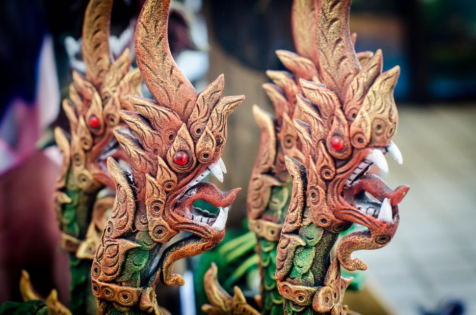 Download Free Stock Photo of Snake head in a Thai's legend