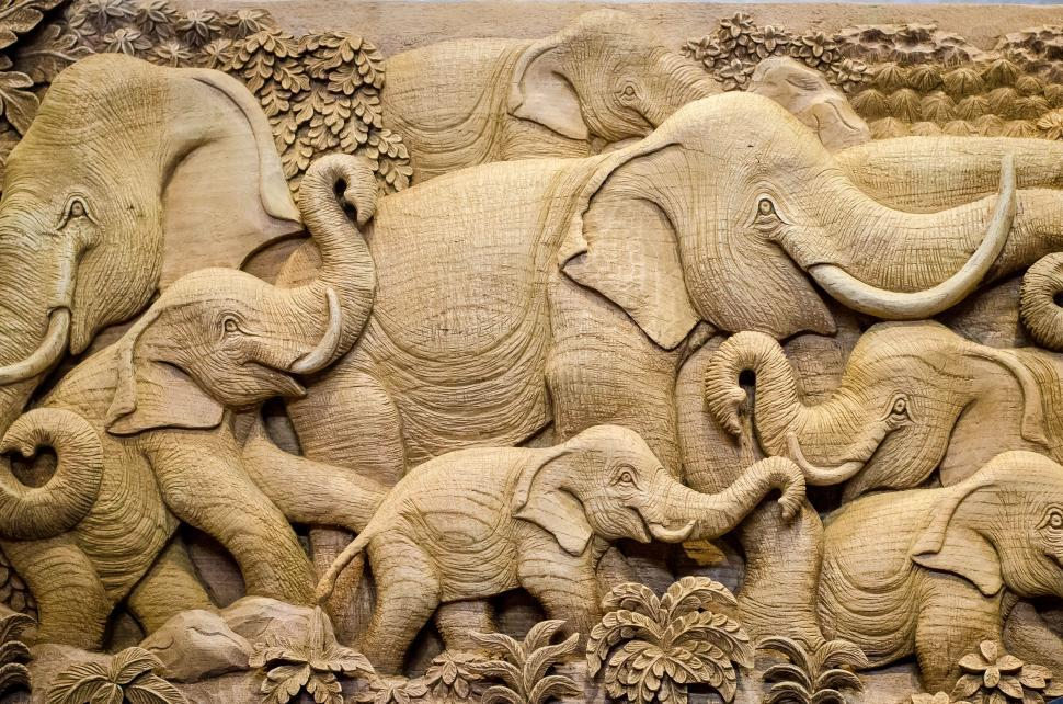 Download Free Stock Photo of Elephant wood sculpture