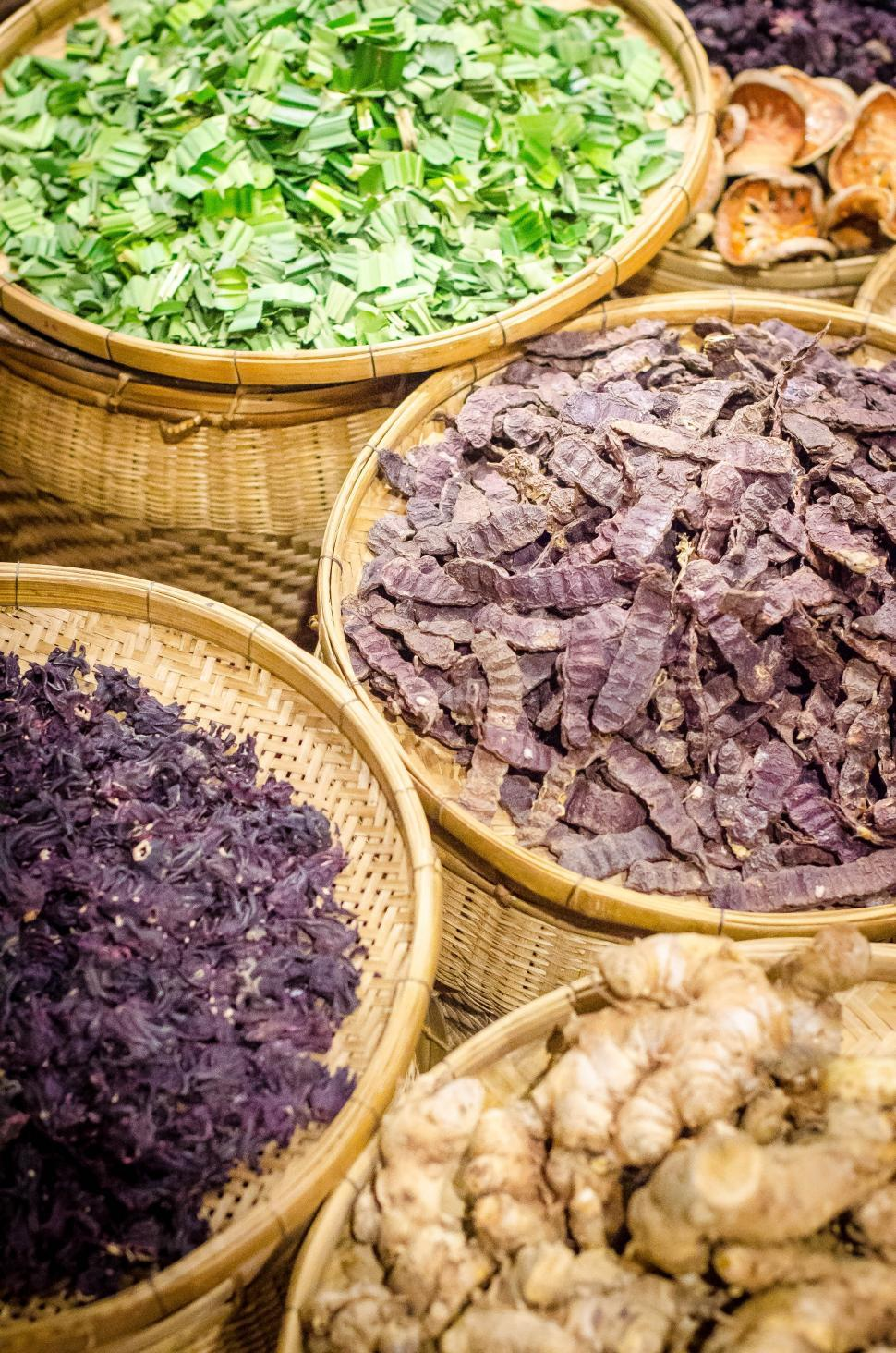 Download Free Stock HD Photo of Thai Herb baskets Online