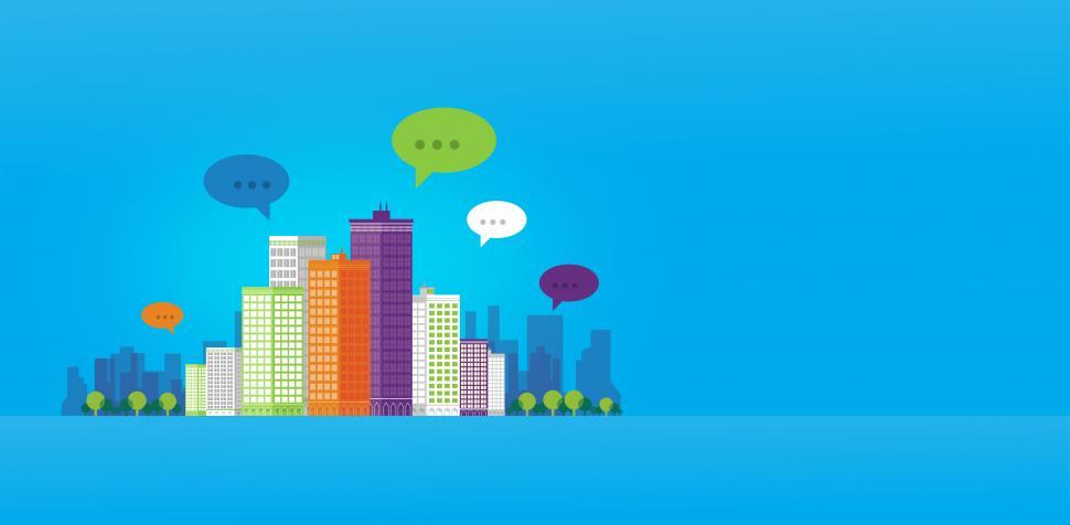 Download Free Stock Photo of People Communicating - Speech Bubbles Over the City - With Copys