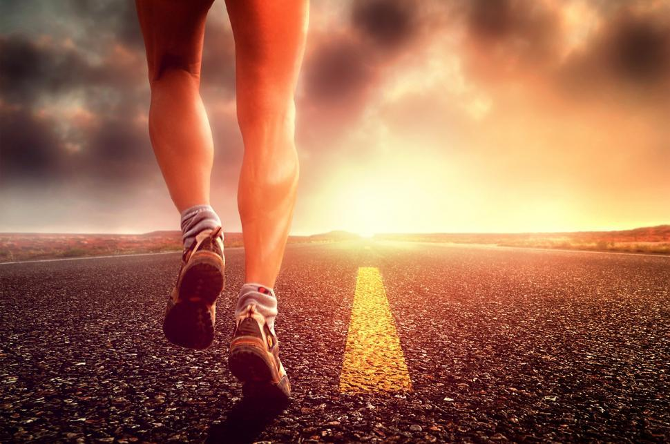 Download Free Stock Photo of Hit the Road - Long Distance Runner on the Road