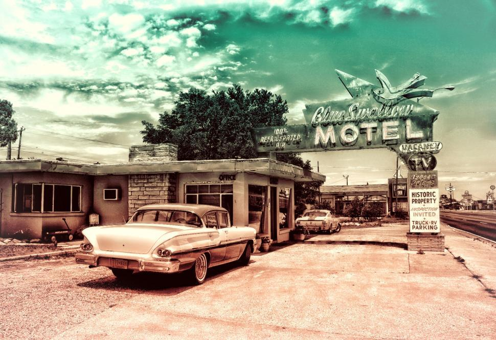 Download Free Stock Photo of Motel - Vintage Car and Motel