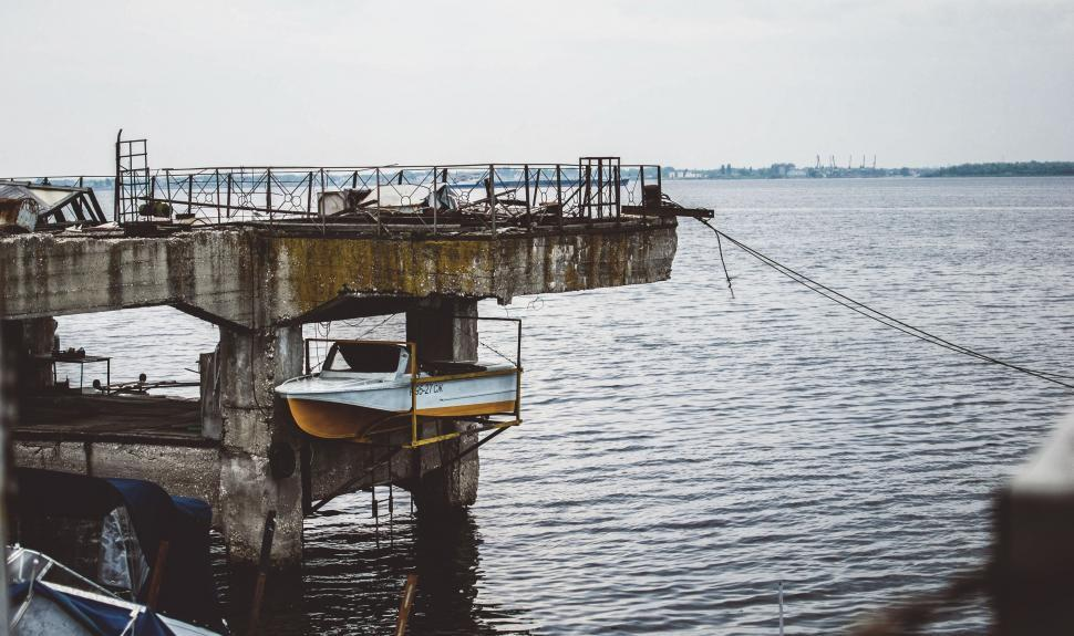 Download Free Stock Photo of Buildings boathouse dock pier shed structure outbuilding water building boat drilling platform landing sea drill rig ocean waterfront river sky harbor marina support boats city bridge rig travel
