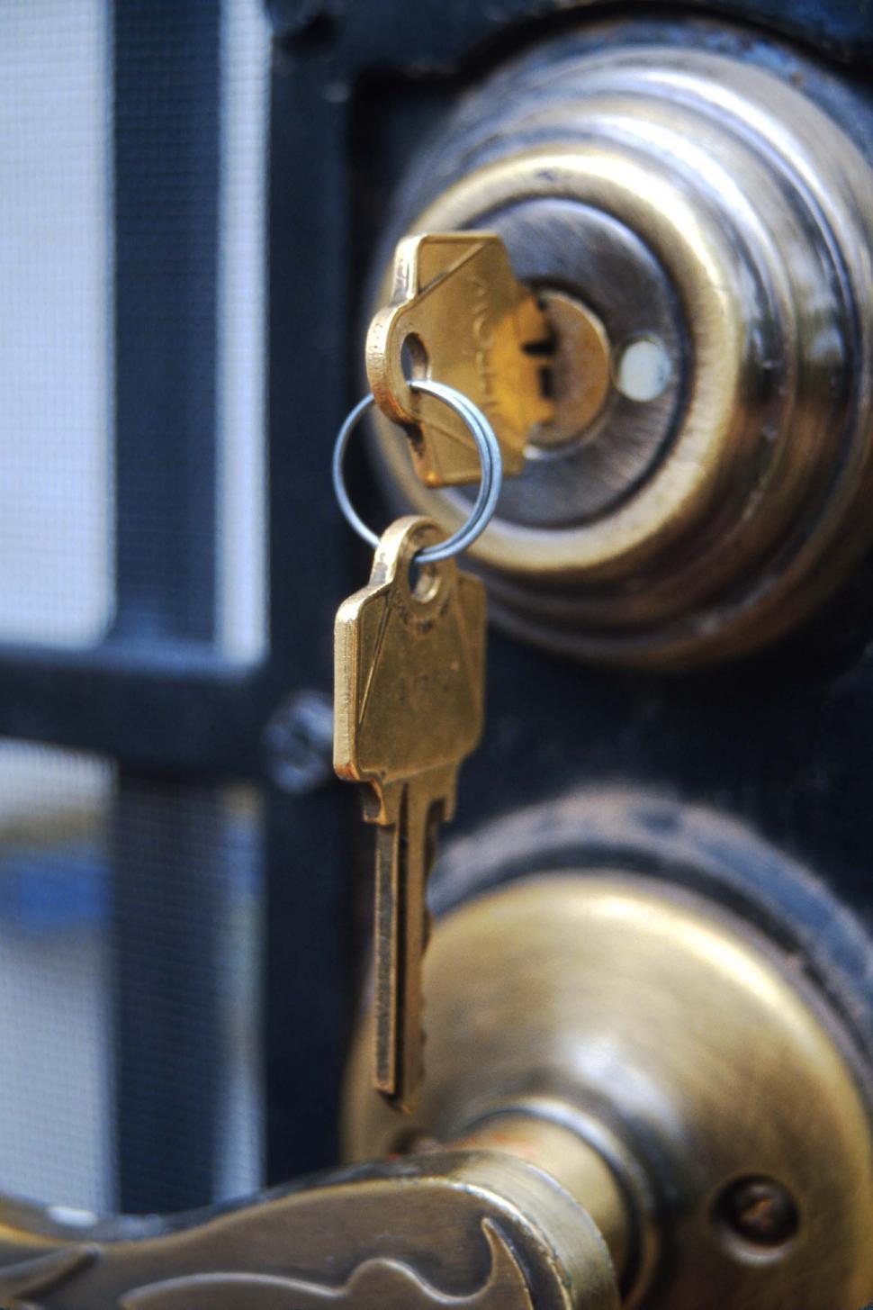 Download Free Stock HD Photo of Keys hang from deadbolt lock Online