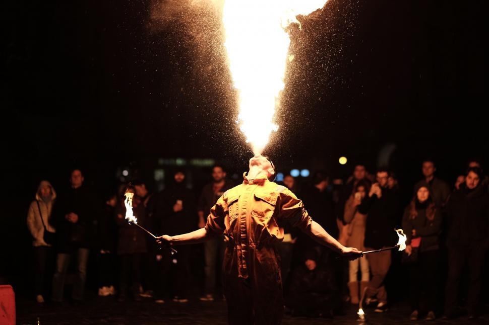 Download Free Stock Photo of performance concert performer light torch people person man