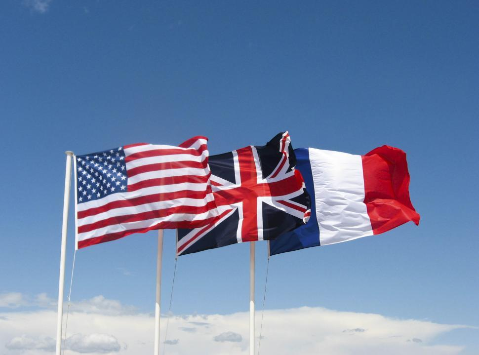 Download Free Stock Photo of Three flags
