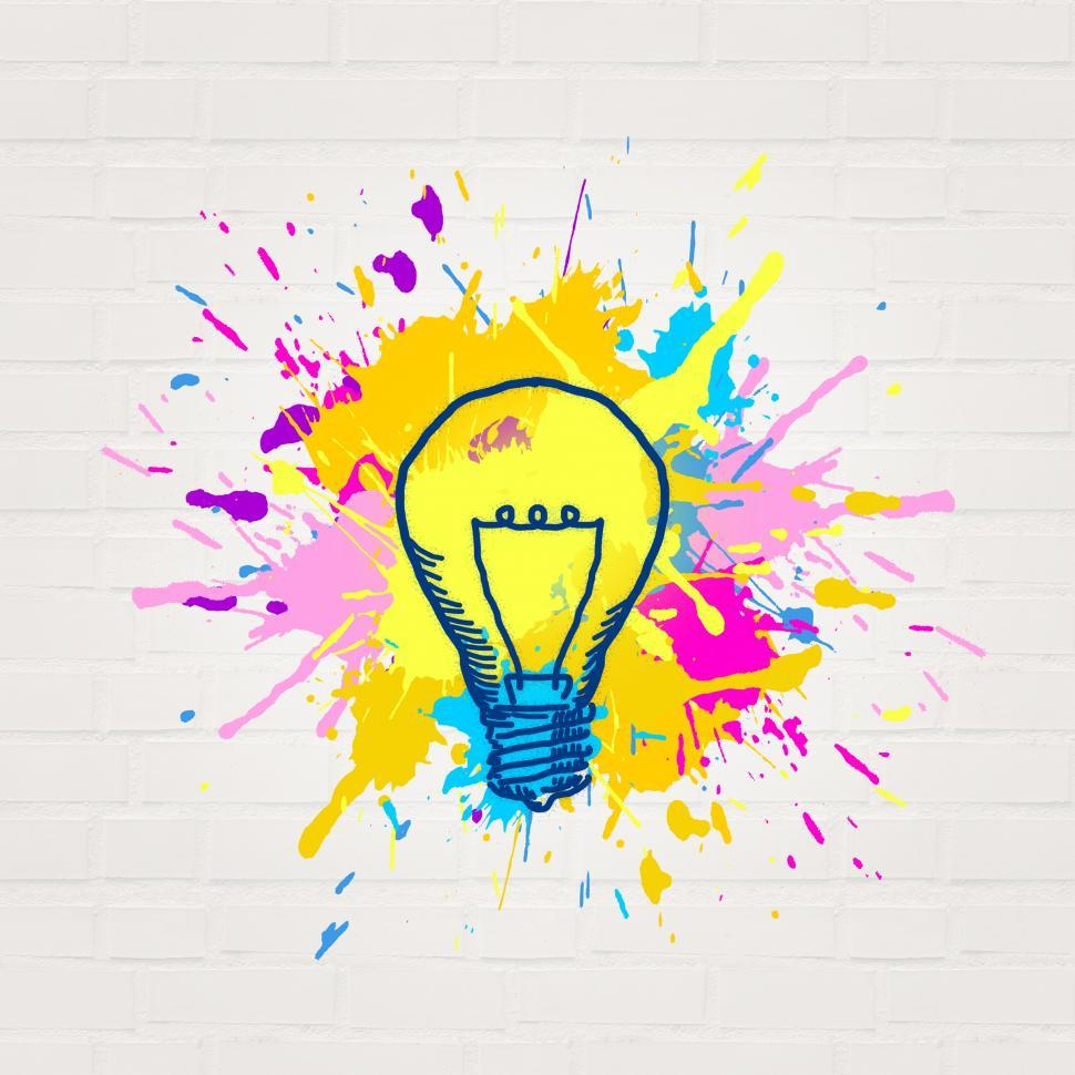 Download Free Stock HD Photo of Painted Lightbulb - Creativity and Imagination Concept - Abstrac Online