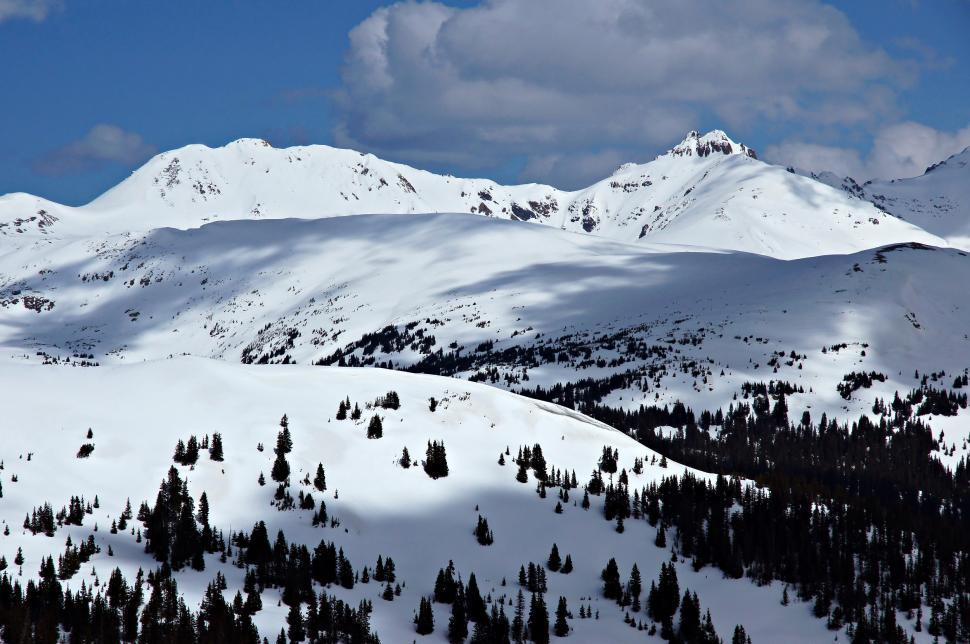 Download Free Stock Photo of Loveland Pass Snowy Mountain Peaks and Clouds