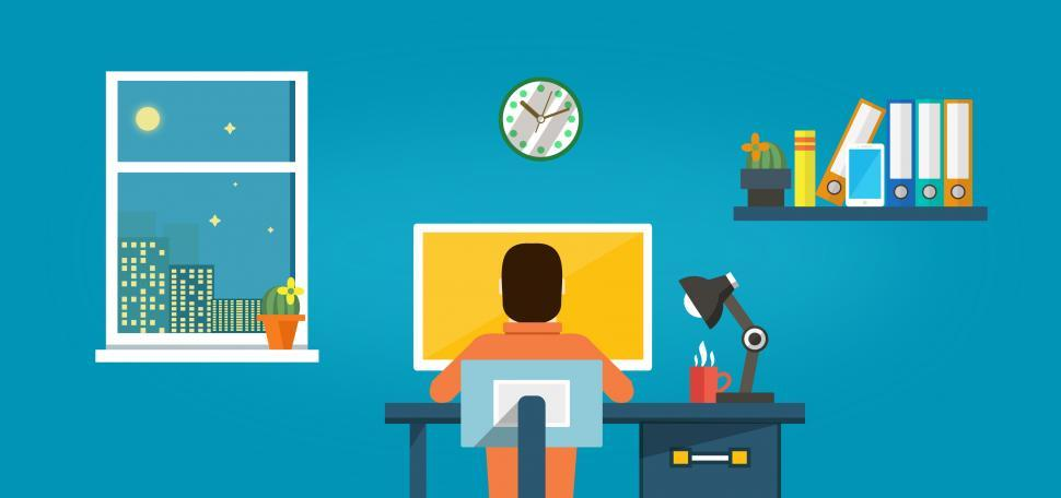 Download Free Stock Photo of Worker at the Desk - Working at Home