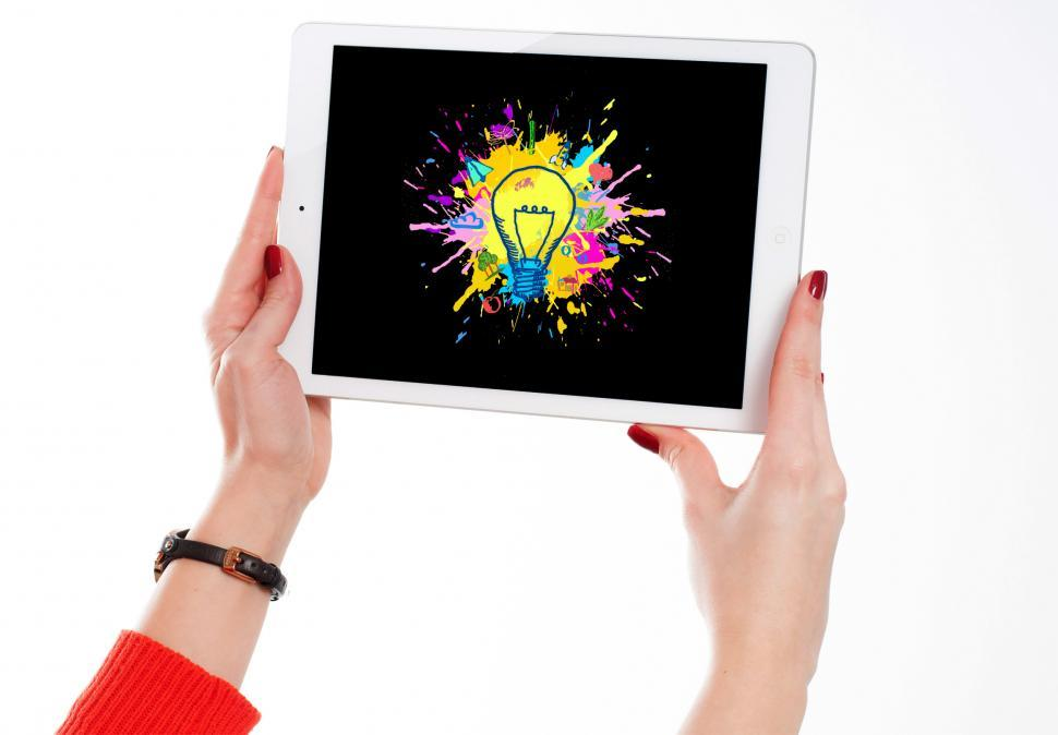 Download Free Stock Photo of Explosion of Ideas - Person Generating Ideas - Tablet