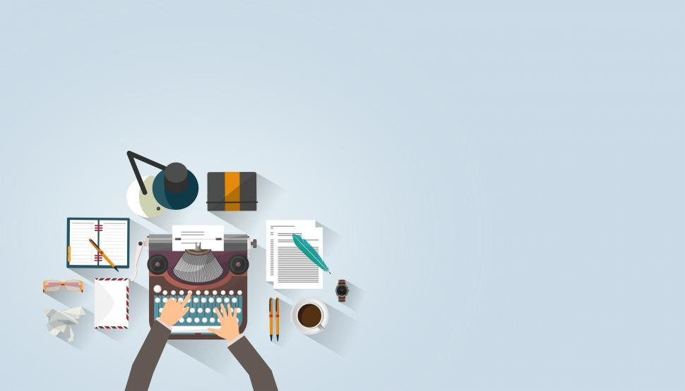 Download Free Stock Photo of Writer Typing - Typewriter - Work Desk - Author - With Copyspace
