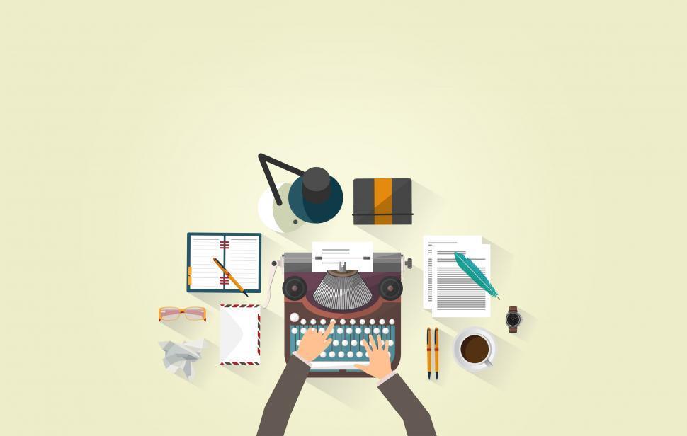 Download Free Stock Photo of Writer Typing - Typewriter - Work Desk - Author
