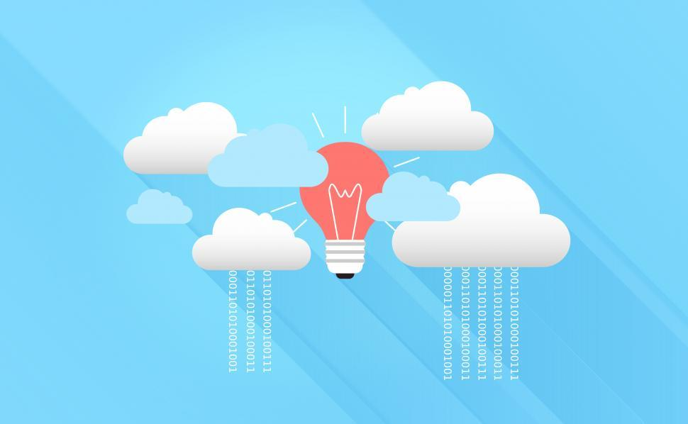 Download Free Stock Photo of Cloud Computing with Virtual Clouds and Light Bulb