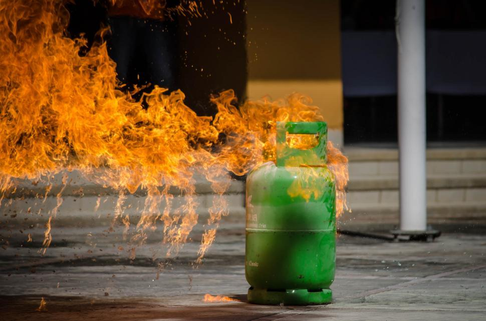 Download Free Stock Photo of Tank on fire